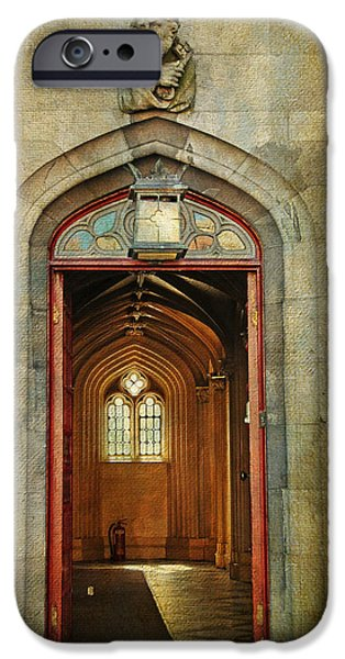 Entrance to the Gothic Revival Chapel. Streets of Dublin. Painting Collection iPhone Case by Jenny Rainbow