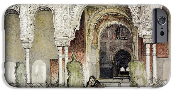 Sisters Drawings iPhone Cases - Entrance To The Hall Of The Two Sisters iPhone Case by John Frederick Lewis