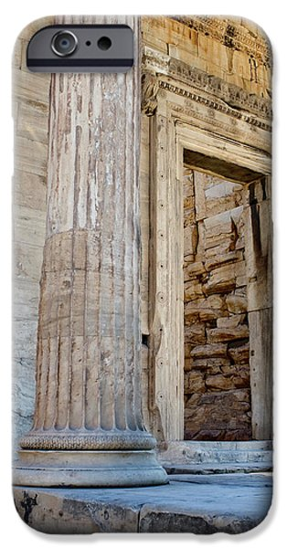 Entrance to the Temple of the Athena Nike iPhone Case by Lorraine Devon Wilke