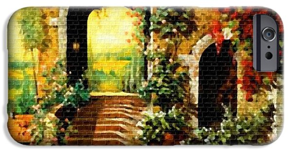 Digital Art Pastels iPhone Cases - Entrance to Villa Valesquess H a iPhone Case by Gert J Rheeders