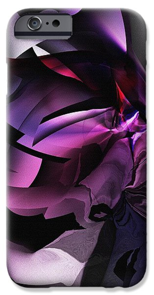 Abstract Digital iPhone Cases - Entropy in Purple iPhone Case by David Lane