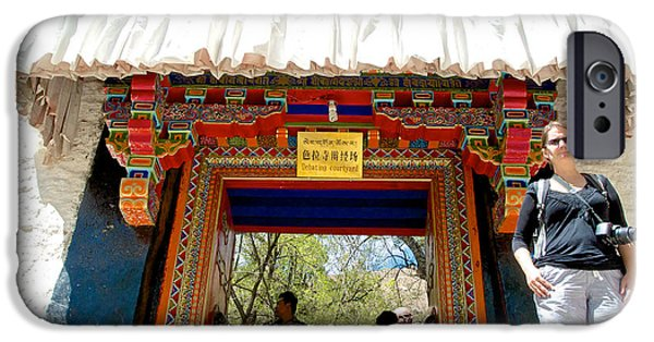Tibetan Buddhism Digital Art iPhone Cases - Entry to Debating Courtyard at Sera Monastery in Lhasa-Tibet iPhone Case by Ruth Hager