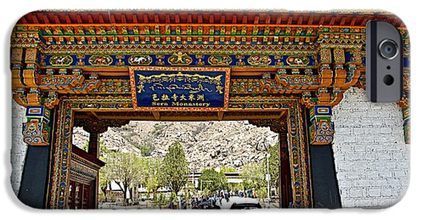 Tibetan Buddhism Digital iPhone Cases - Entry to Sera Monastery in Lhasa-Tibet  iPhone Case by Ruth Hager
