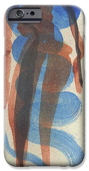 Entwined Figures Series No. 2 Blue Unknown iPhone Case by Cathy Peterson