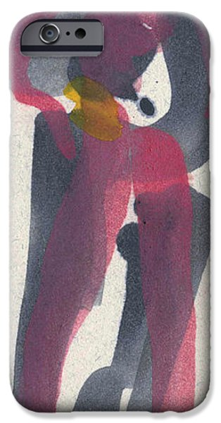 Printmaking iPhone Cases - Entwined Figures Series. You surround my heart with your love. iPhone Case by Cathy Peterson