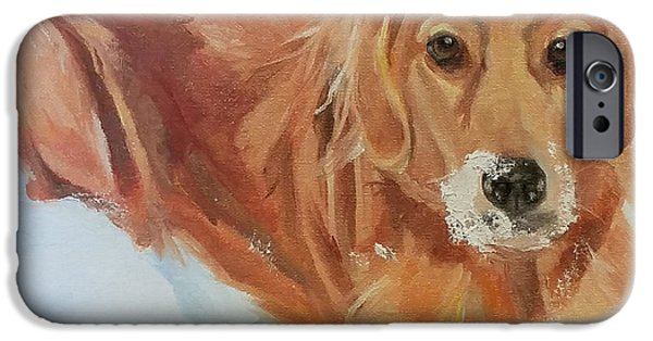 Dogs In Snow. Paintings iPhone Cases - Enzo iPhone Case by Mary Gold