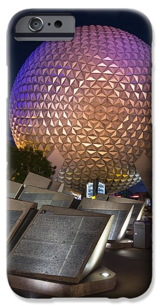 Technology iPhone Cases - Epcot Spaceship Earth iPhone Case by Adam Romanowicz