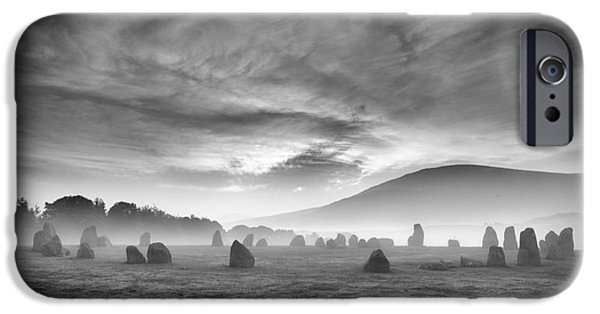 Vale iPhone Cases - Ephemeral Light over Castlerigg Stone Circle iPhone Case by John Potter