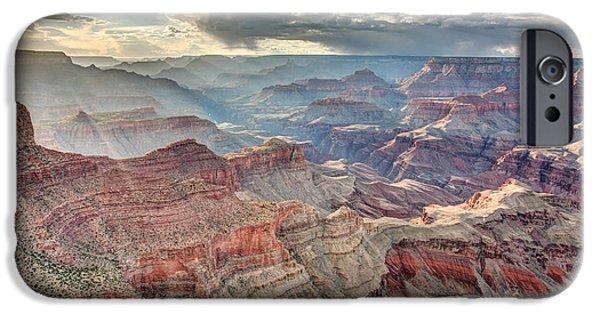 Grand Canyon iPhone Cases - Ephemeral sunlight in the Grand Canyon iPhone Case by Pierre Leclerc Photography