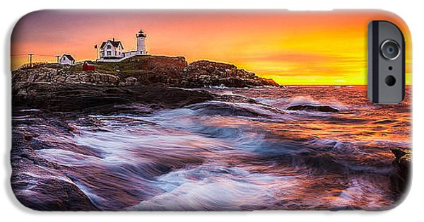 Recently Sold -  - New England Lighthouse iPhone Cases - Epic Sunrise at Nubble Lighthouse iPhone Case by Benjamin Williamson