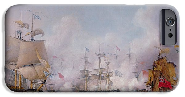Boat iPhone Cases - Episode of the Battle of Navarino iPhone Case by Ambroise-Louis Garneray