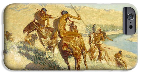 Frederic Remington iPhone Cases - Episode of the Buffalo Gun iPhone Case by Frederic Remington