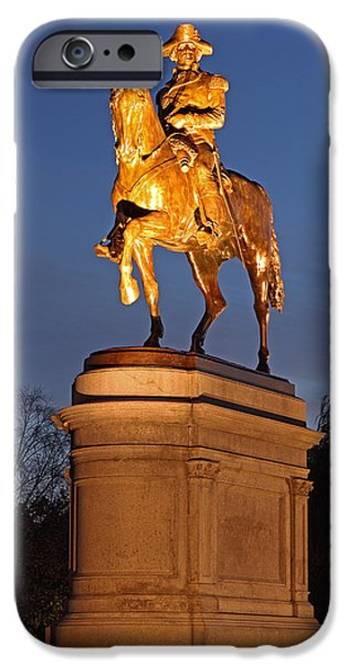 Statue Portrait iPhone Cases - Equestrian Bronze Statue of George Washington iPhone Case by Juergen Roth