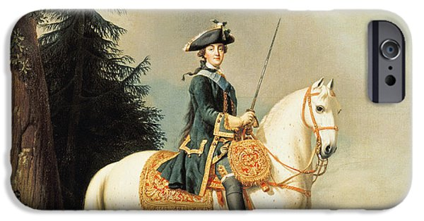 Grey Photographs iPhone Cases - Equestrian Portrait Of Catherine Ii 1729-96 The Great Of Russia Oil On Canvas iPhone Case by Vigilius Erichsen
