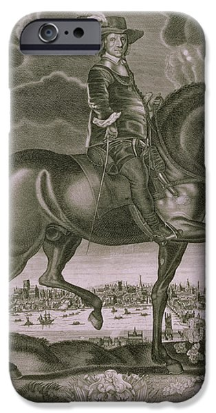 Animals Drawings iPhone Cases - Equestrian Portrait of Oliver Cromwell  iPhone Case by Albert Haelwegh
