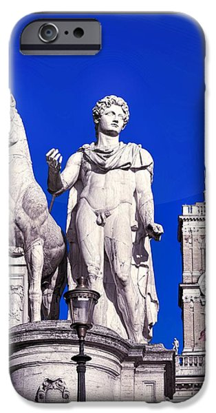 Statue Portrait iPhone Cases - Equestrian statue at Capitoline Hill iPhone Case by Stefano Senise