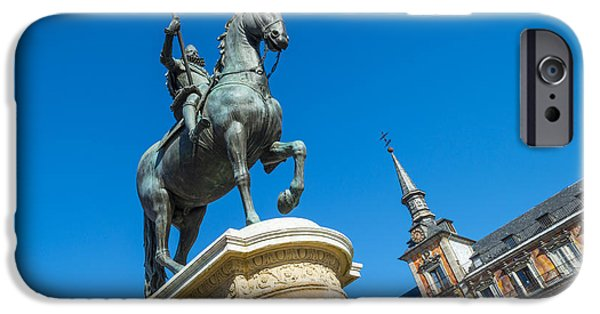 Equestrian Center iPhone Cases - Equestrian statue on the Plaza Mayor in Madrid iPhone Case by Jan Marijs