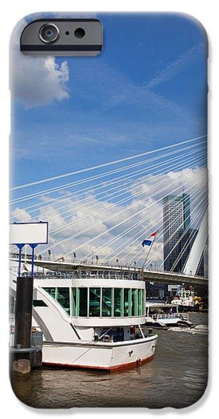 Erasmus Bridge in Rotterdam City Downtown iPhone Case by Artur Bogacki
