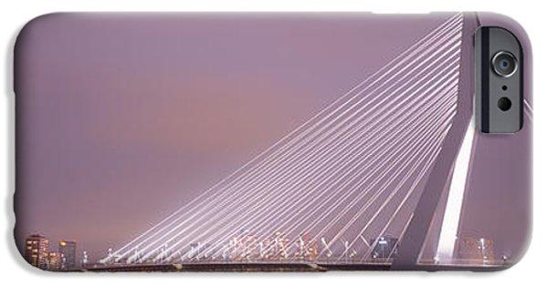 Swans... iPhone Cases - Erasmus Bridge, Rotterdam, Holland iPhone Case by Panoramic Images