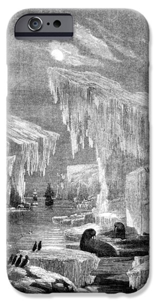 Arctic Drawings iPhone Cases - Erebus and Terror in the Ice 1866 iPhone Case by E Grandsire