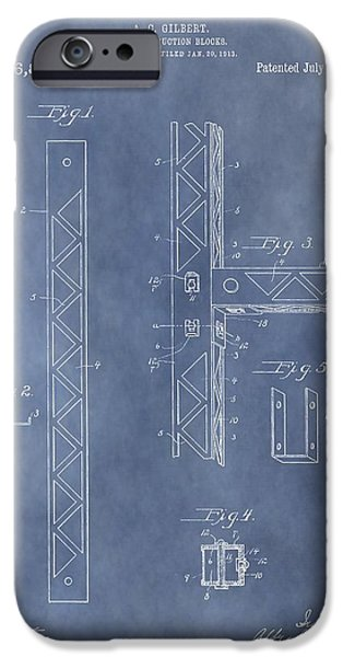 Toy Shop iPhone Cases - Erector Set Patent iPhone Case by Dan Sproul