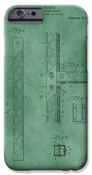 Toy Store iPhone Cases - Erector Set Patent Green iPhone Case by Dan Sproul