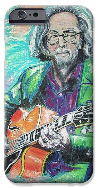 Celebrities Pastels iPhone Cases - Eric Clapton iPhone Case by Melanie D
