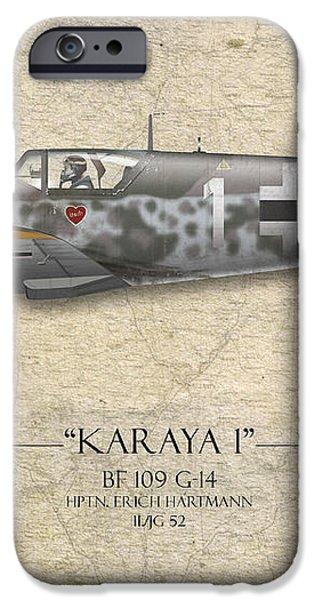 Erich Hartmann Messerschmitt Bf-109 - Map Background iPhone Case by Craig Tinder