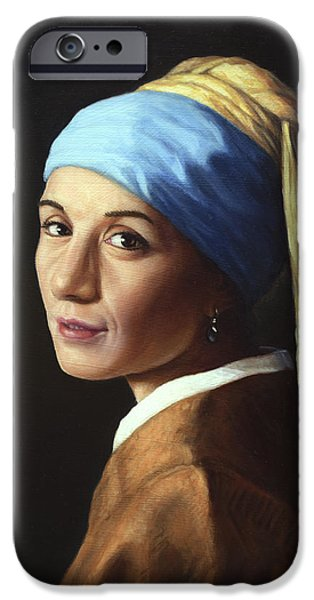 Earrings iPhone Cases - Erika with a pearl earring iPhone Case by James W Johnson