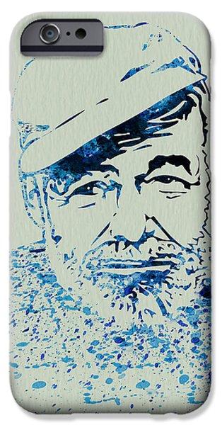 Author iPhone Cases - Ernest Hemingway Watercolor iPhone Case by Naxart Studio