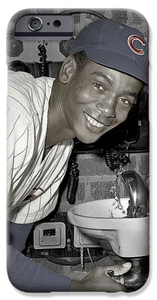 Chicago Cubs iPhone Cases - Ernie Banks at the Cubs drinking fountain. 1961. iPhone Case by Martin Konopacki