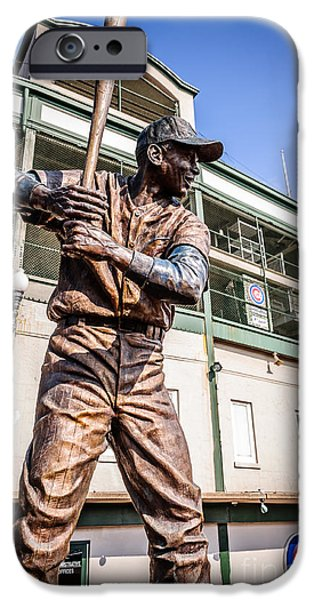 Wrigley iPhone Cases - Ernie Banks Statue at Wrigley Field  iPhone Case by Paul Velgos