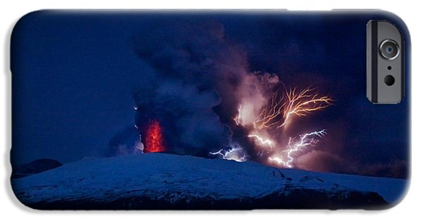 Photography Lightning iPhone Cases - Erupting Volcano, Eyjafjallajokull iPhone Case by Panoramic Images