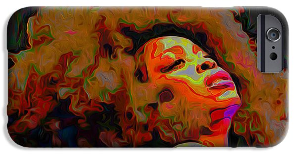Celebrities Digital iPhone Cases - Erykah Badu iPhone Case by  Fli Art