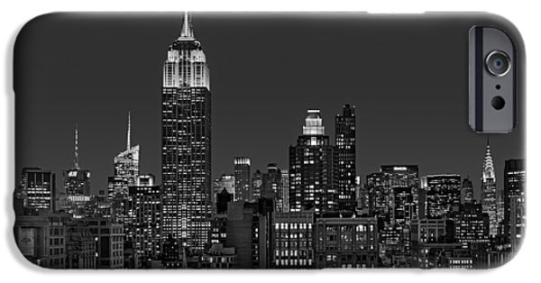 Empire State iPhone Cases - ESB Surrounded By The Flatiron District BW iPhone Case by Susan Candelario