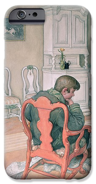 Furniture iPhone Cases - Esbjorn Convalescing iPhone Case by Carl Larsson