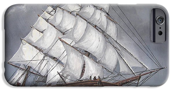 Recently Sold -  - Pirate Ships iPhone Cases - Escaping the Storm iPhone Case by Deborah Strategier