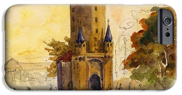 Original Watercolor iPhone Cases - Eschenheimer turm iPhone Case by Juan  Bosco