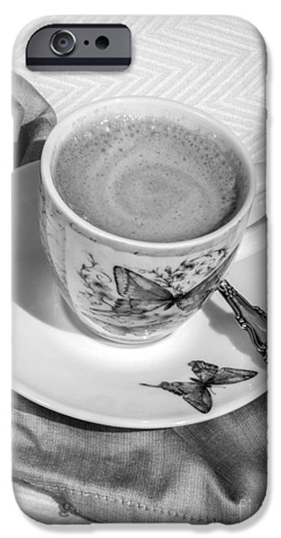 Balck Art iPhone Cases - Espresso in Butterfly Cup in Black and White iPhone Case by Iris Richardson