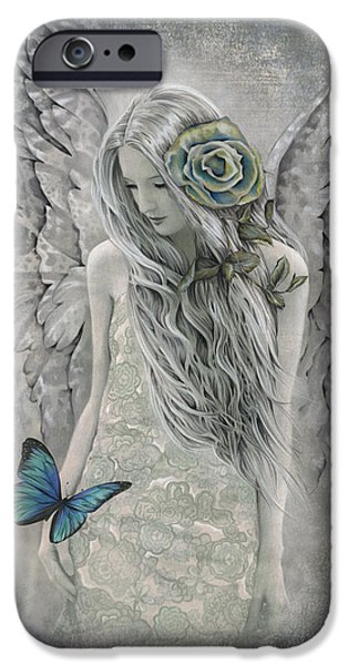 Angel Blues Mixed Media iPhone Cases - Essence of Faith iPhone Case by Jessica Galbreth