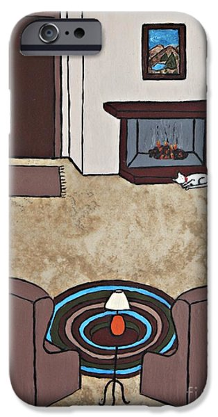 Furniture Ceramics iPhone Cases - Essence of Home - Cat by Fireplace iPhone Case by Sheryl Young