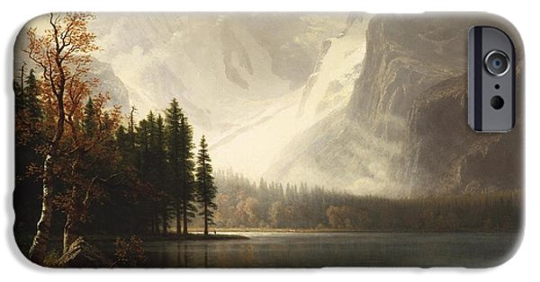 Park Scene Paintings iPhone Cases - Estes Park Colorado Whytes Lake iPhone Case by Albert Bierstadt