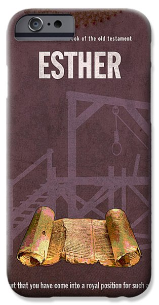 Esther Books Of The Bible Series Old Testament Minimal Poster Art Number 17 iPhone Case by Design Turnpike