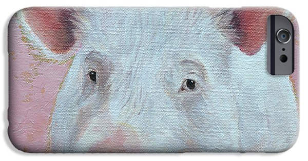 Pigs iPhone Cases - Esther The Wonder Pig iPhone Case by Mary Medrano