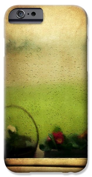 Rainy Day iPhone Cases - Et Peu a Peu Les Flots Respiraient Comme on Pleure iPhone Case by Taylan Soyturk