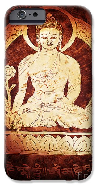 Buddhism iPhone Cases - Etched Buddha  iPhone Case by Tim Gainey