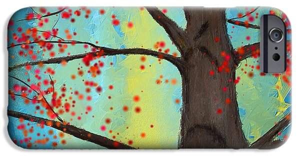 Blue And Red Paintings iPhone Cases - Eternal Passion iPhone Case by Lourry Legarde