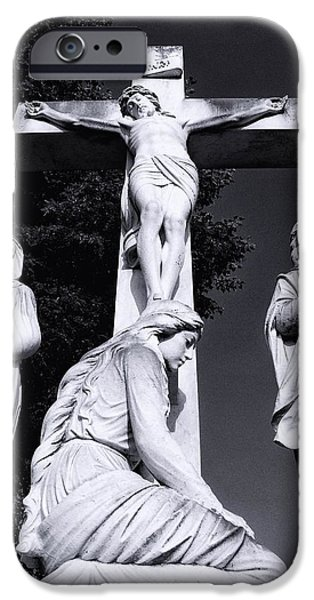 Jesus Sculptures iPhone Cases - In mourning...three iPhone Case by Tom Druin