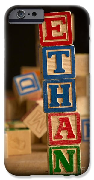 Spell iPhone Cases - ETHAN - Alphabet Blocks iPhone Case by Edward Fielding