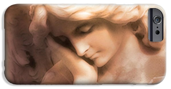 Statue Portrait Photographs iPhone Cases - Ethereal Angel Art - Dreamy Surreal Peaceful Comforting Angel Art iPhone Case by Kathy Fornal